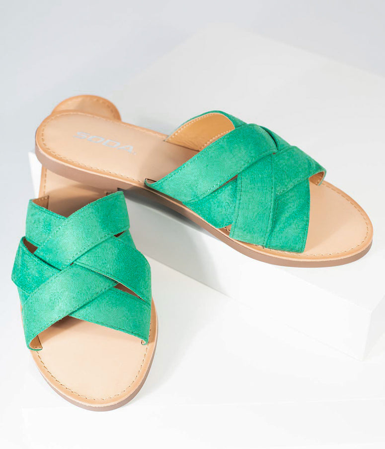 Retro Style Green Suede Woven Flat Sandal
