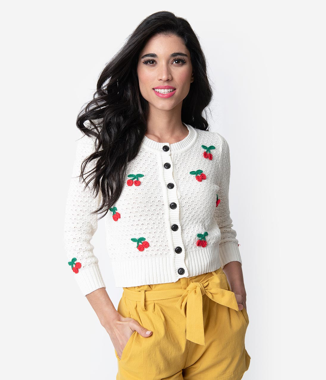 1f142753a7 Vintage Style Ivory   Red Cherry Three-Quarter Sleeve Knit Crop Cardigan