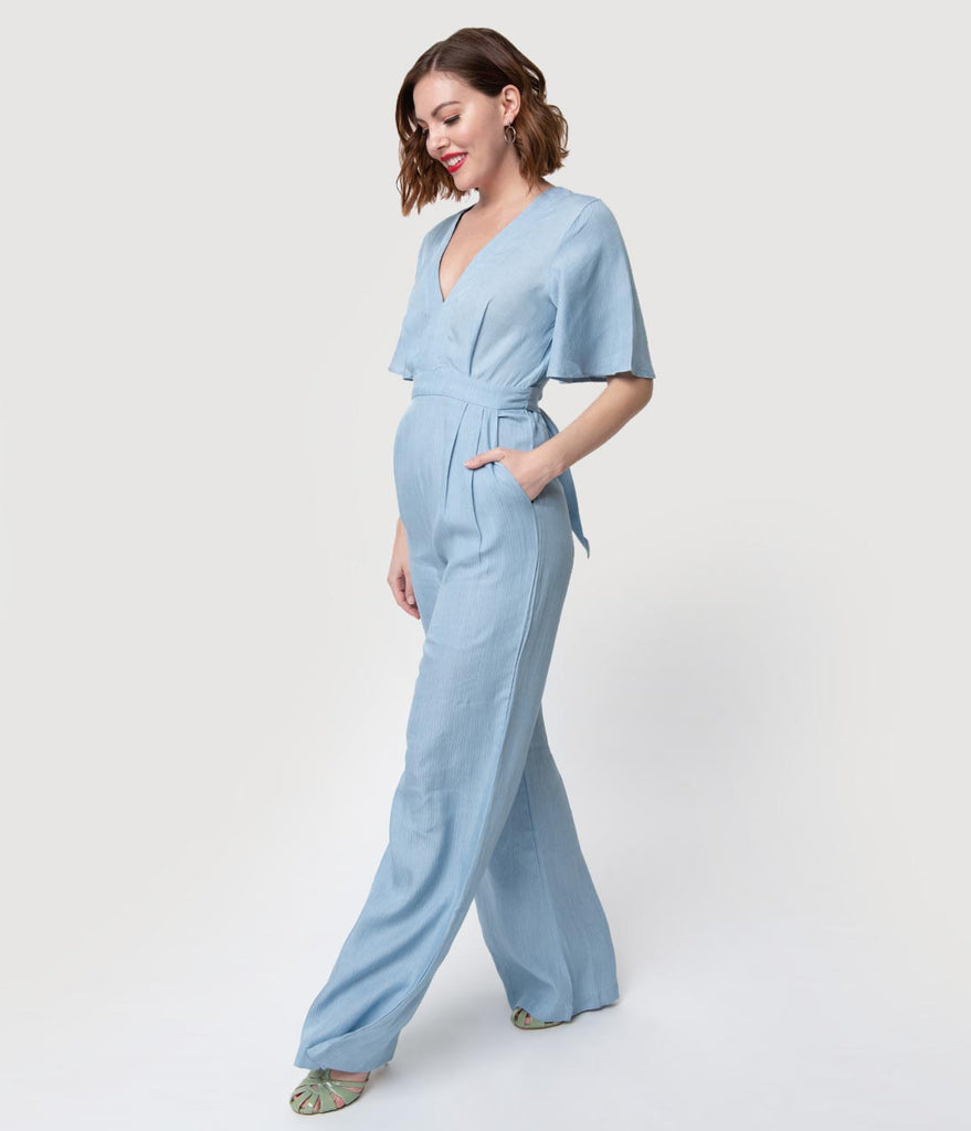 1970s Style Light Blue Pinstripe Tencel Wide Leg Jumpsuit