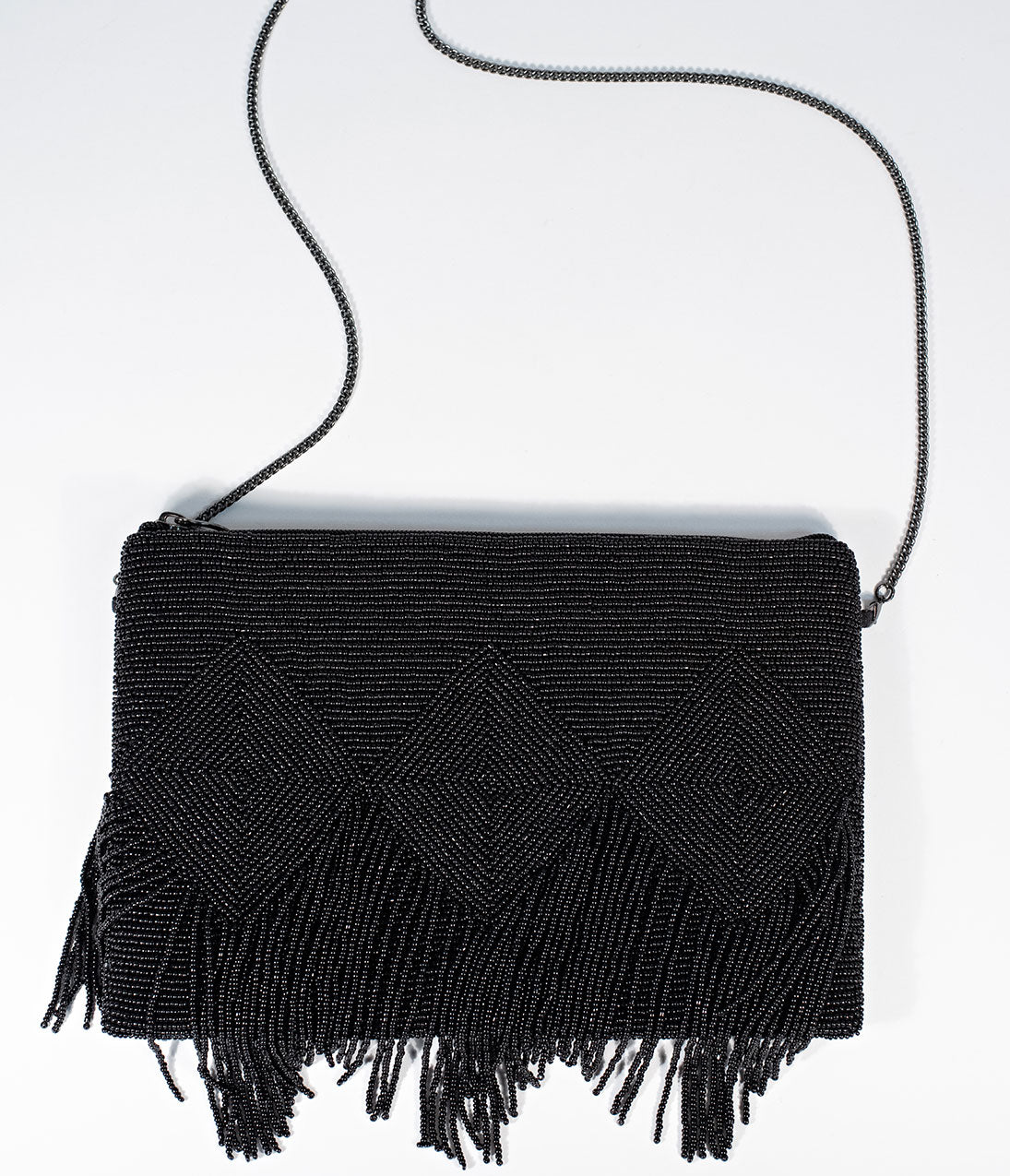 1920s Style Purses, Flapper Bags, Handbags Deco Style Black Beaded Fringe Clutch $64.00 AT vintagedancer.com