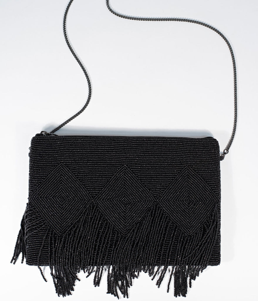 Deco Style Black Beaded Fringe Clutch