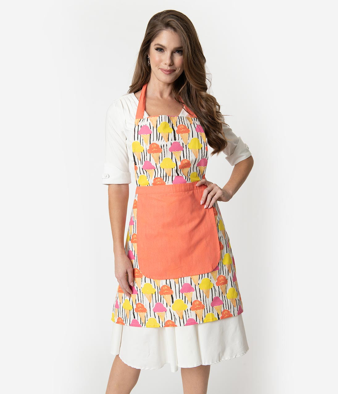 10 Things to Do with Vintage Aprons 1950S Style Coral Pink Ice Cream Print Cotton Apron $32.00 AT vintagedancer.com