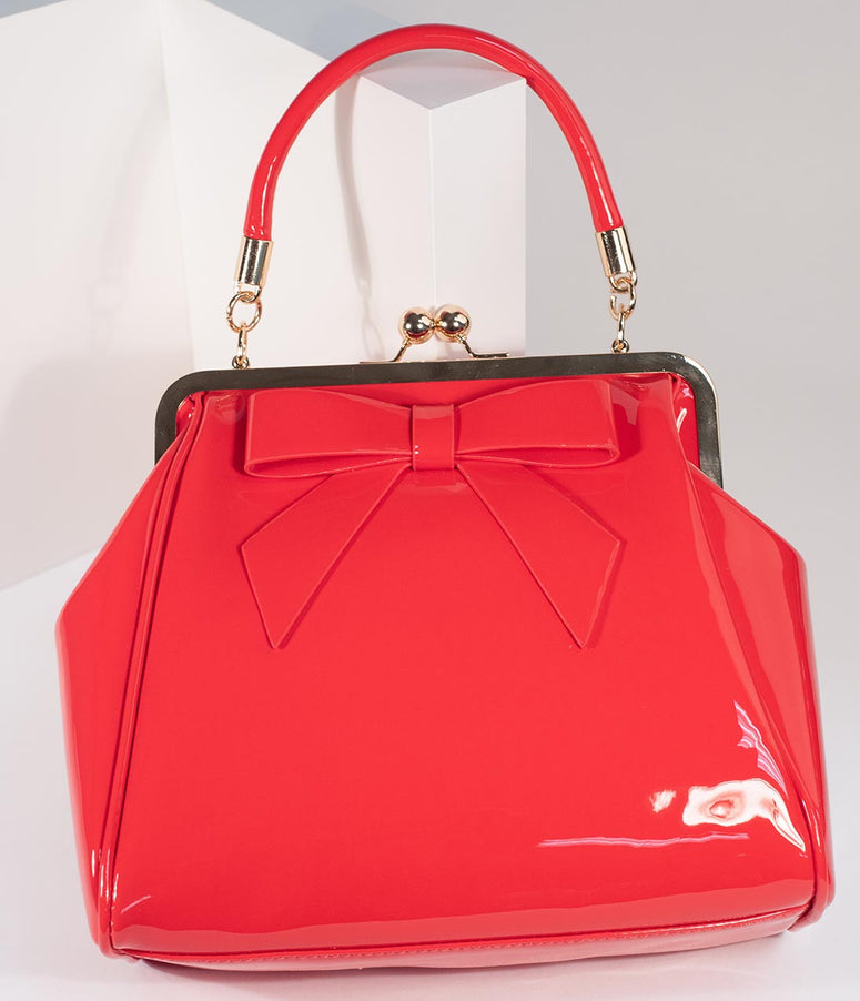 Red Patent Leatherette Top Frame Handbag