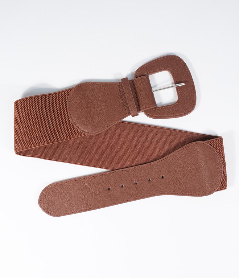 Retro Style Brown Leatherette Wide Elastic Cinch Belt