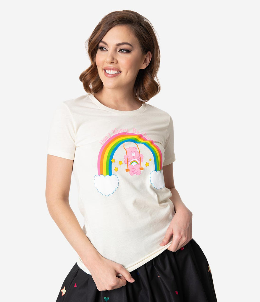Care Bears x Unique Vintage Dont Worry Be Happy Womens Tee