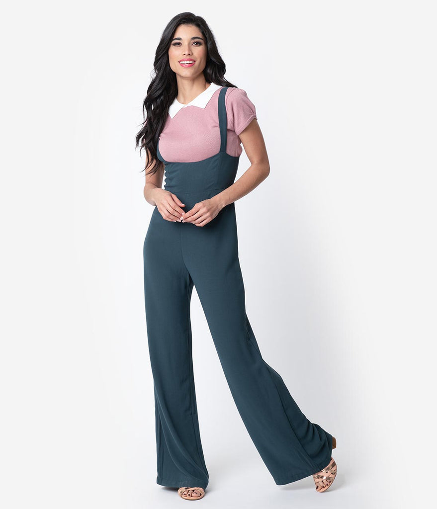 79911281cad Retro Style Teal High Waisted Peyton Suspender Pants – Unique Vintage