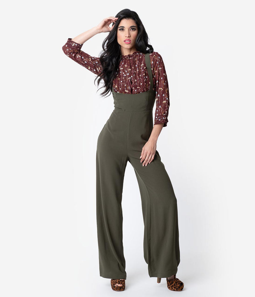 36aa8a13817 Retro Style Olive High Waisted Peyton Suspender Pants – Unique Vintage