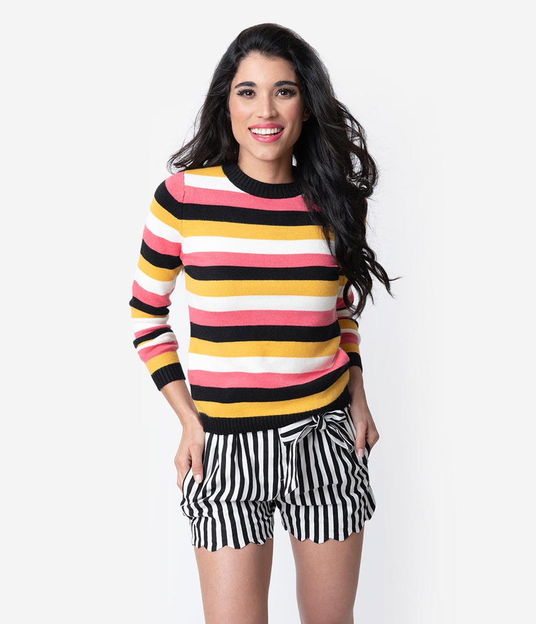 Retro Style Multicolor Striped Long Sleeve Knit Sweater