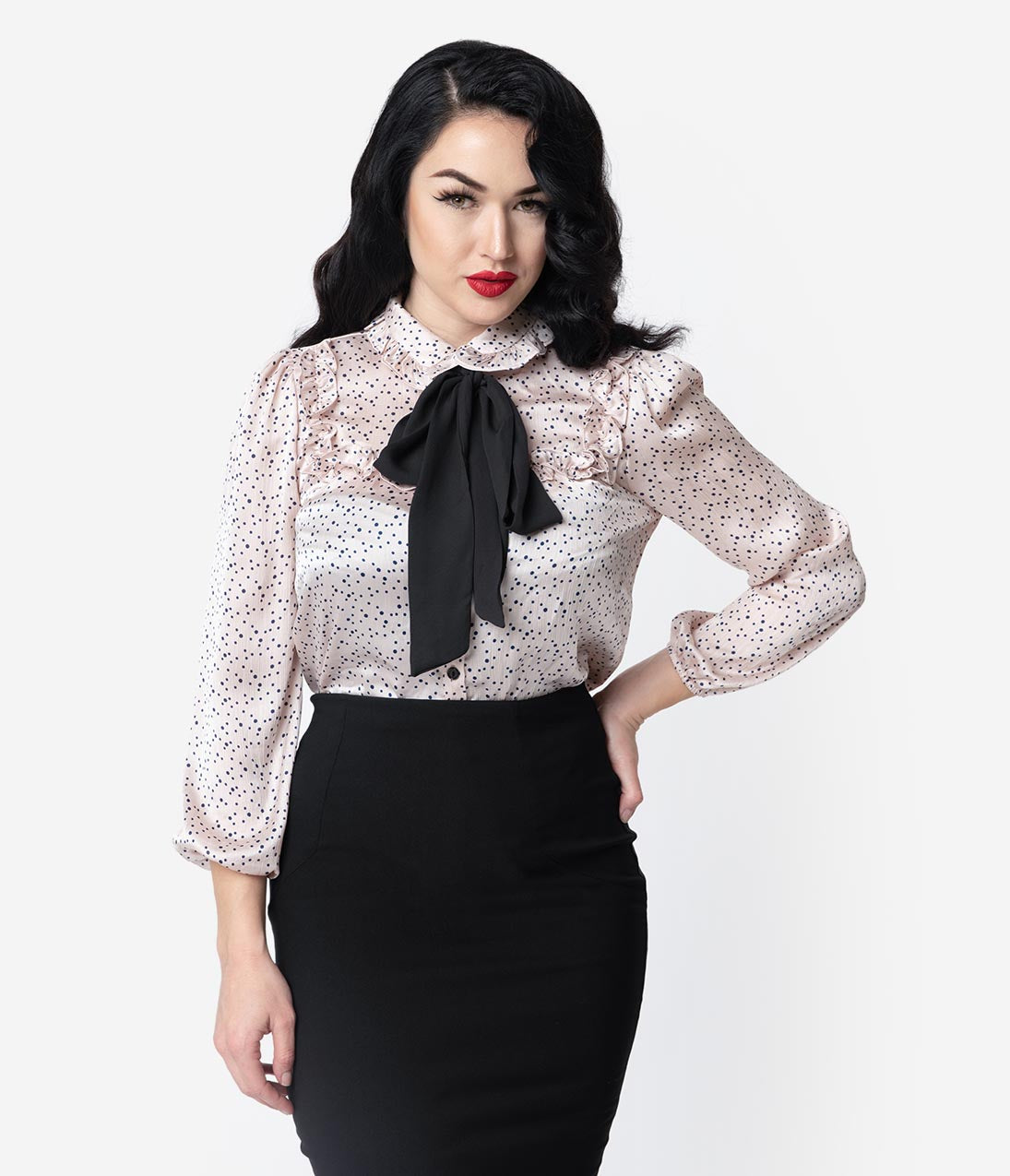1940s Blouses, Shirts and Tops Fashion History 1940S Style Blush Pink  Black Dotted Neck Tie Blouse $48.00 AT vintagedancer.com