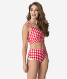 Retro Style Red & White Gingham Ruffle Swim Bottom