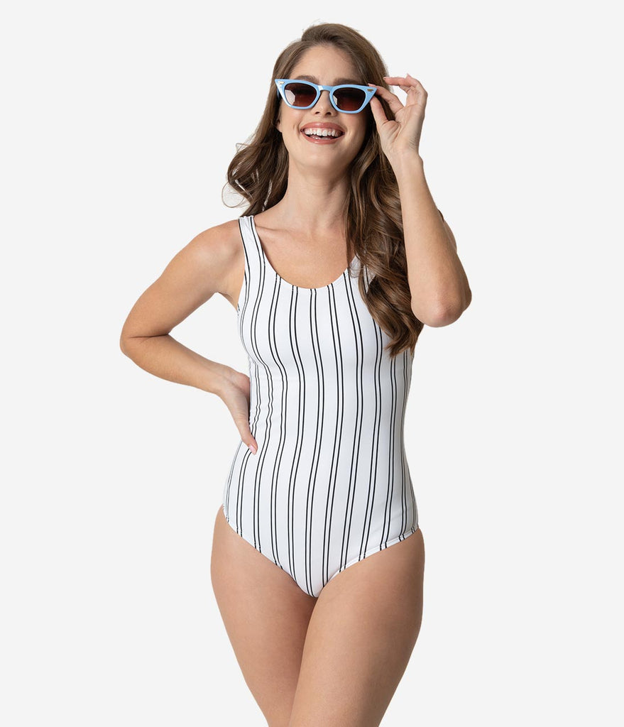 Retro Style White & Black Stripe Criss Cross Back One Piece Swimsuit