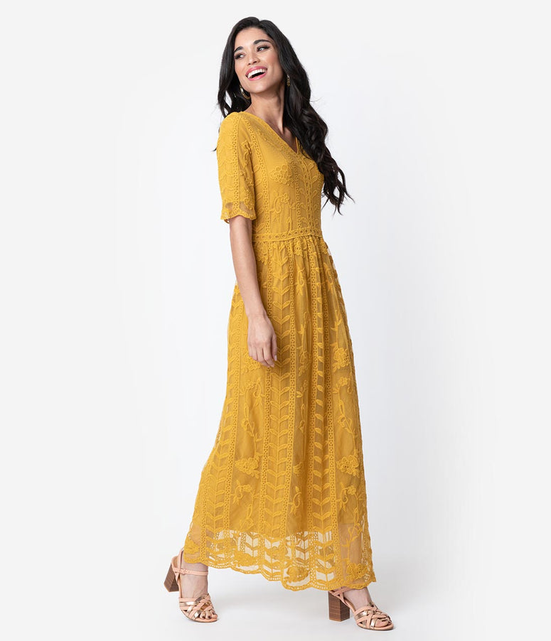 1940s Style Mustard Yellow Lace Short Sleeved Long Dress 56647977c