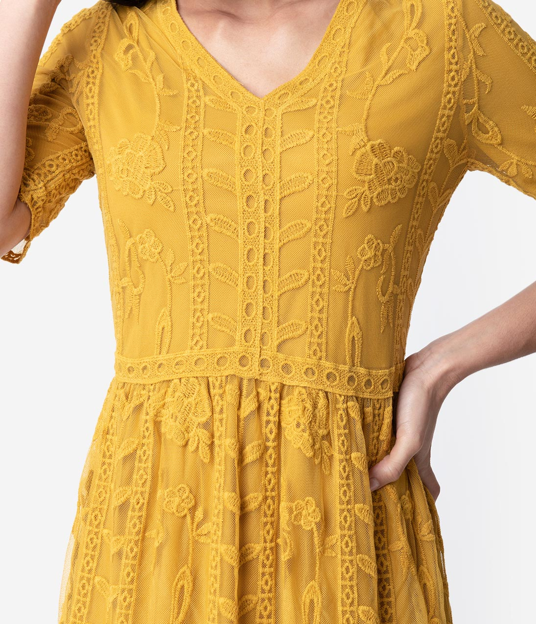 89c89abd574 1940s Style Mustard Yellow Lace Short Sleeved Long Dress