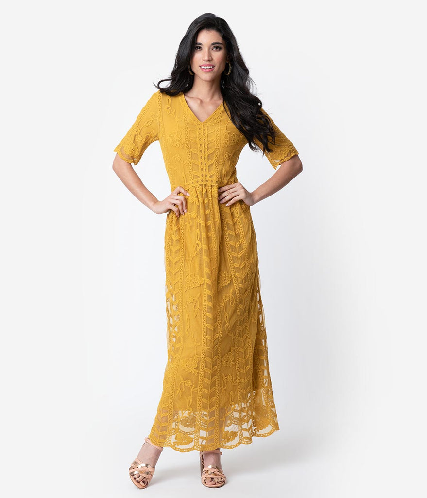 1940s Style Mustard Yellow Lace Short Sleeved Long Dress