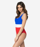 Retro Style Red White & Blue Stripe One Piece Tank Swimsuit