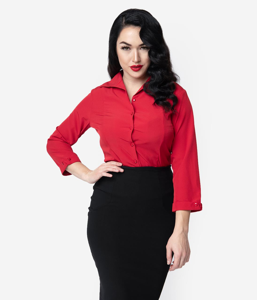 1950s Rockabilly & Pin Up Tops, Blouses, Shirts Red Janine Blouse $48.00 AT vintagedancer.com