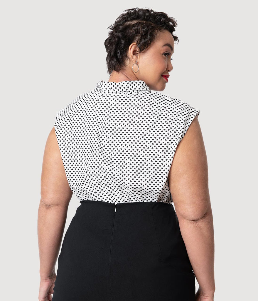 Folter Plus Size White & Black Heart Dot Print Cotton Sleeveless Blouse