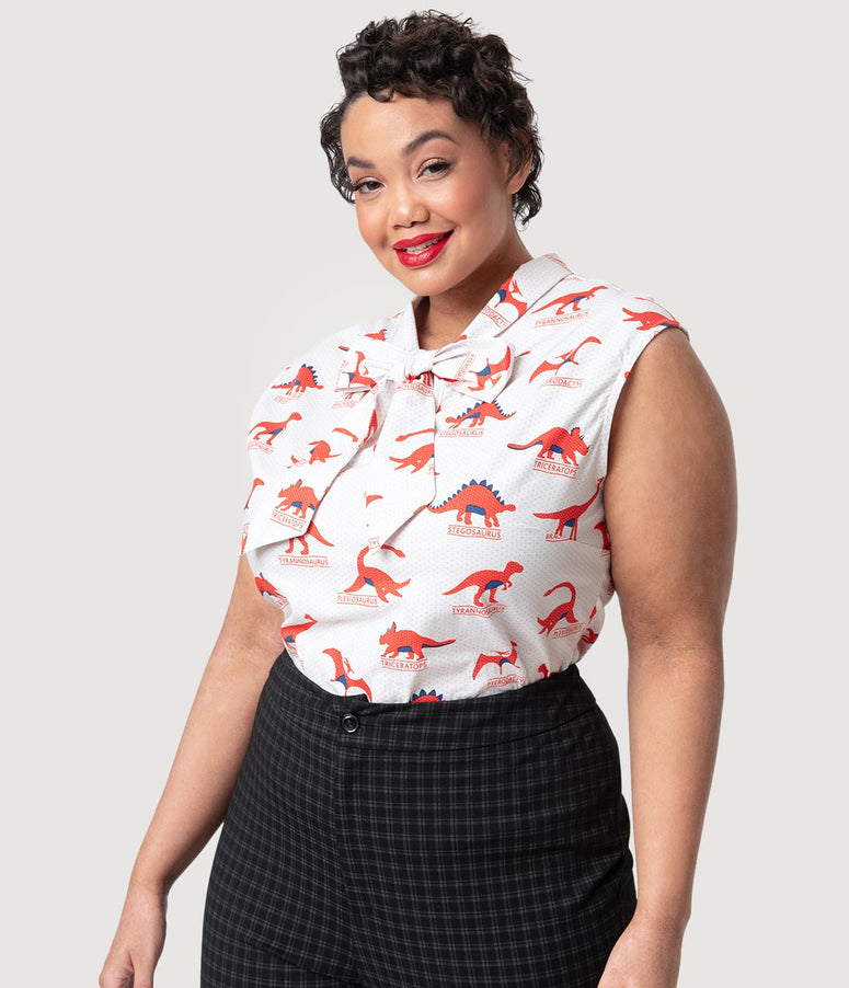 Folter Plus Size Ivory Dotted & Red Dino-Mite Cotton Sleeveless Blouse