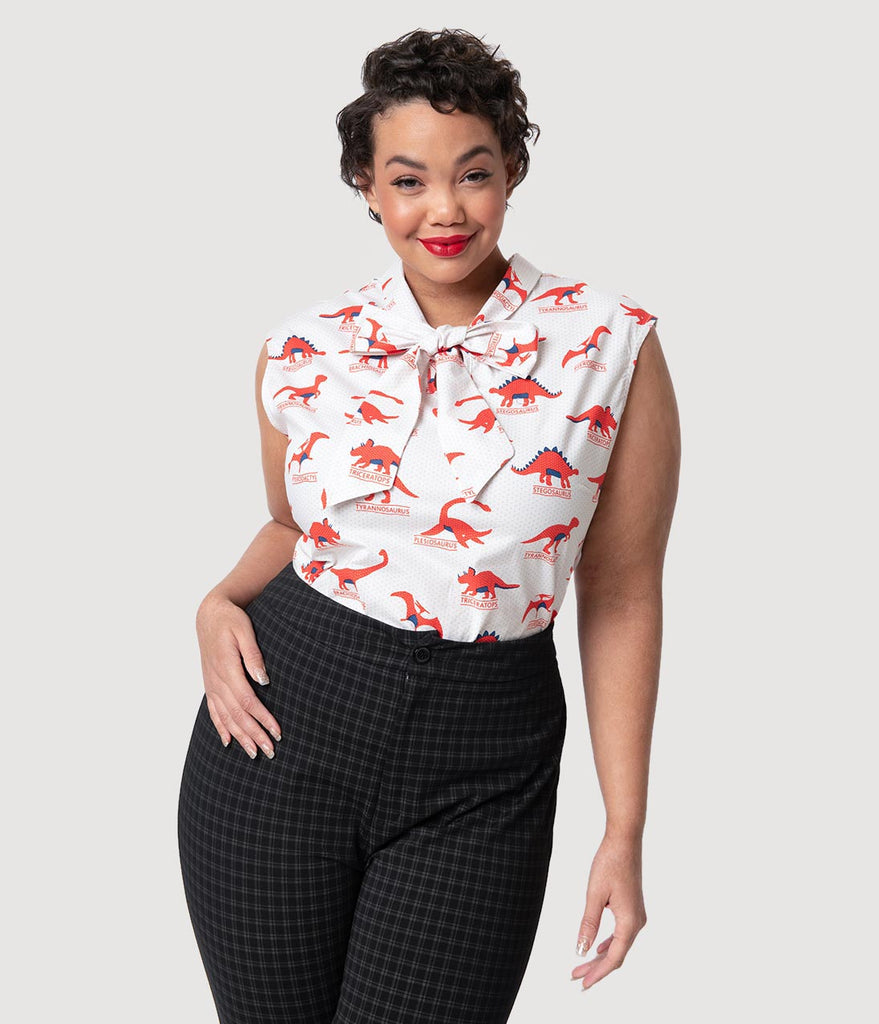 Retrolicious Plus Size Ivory Dotted & Red Dino-Mite Cotton Sleeveless Blouse