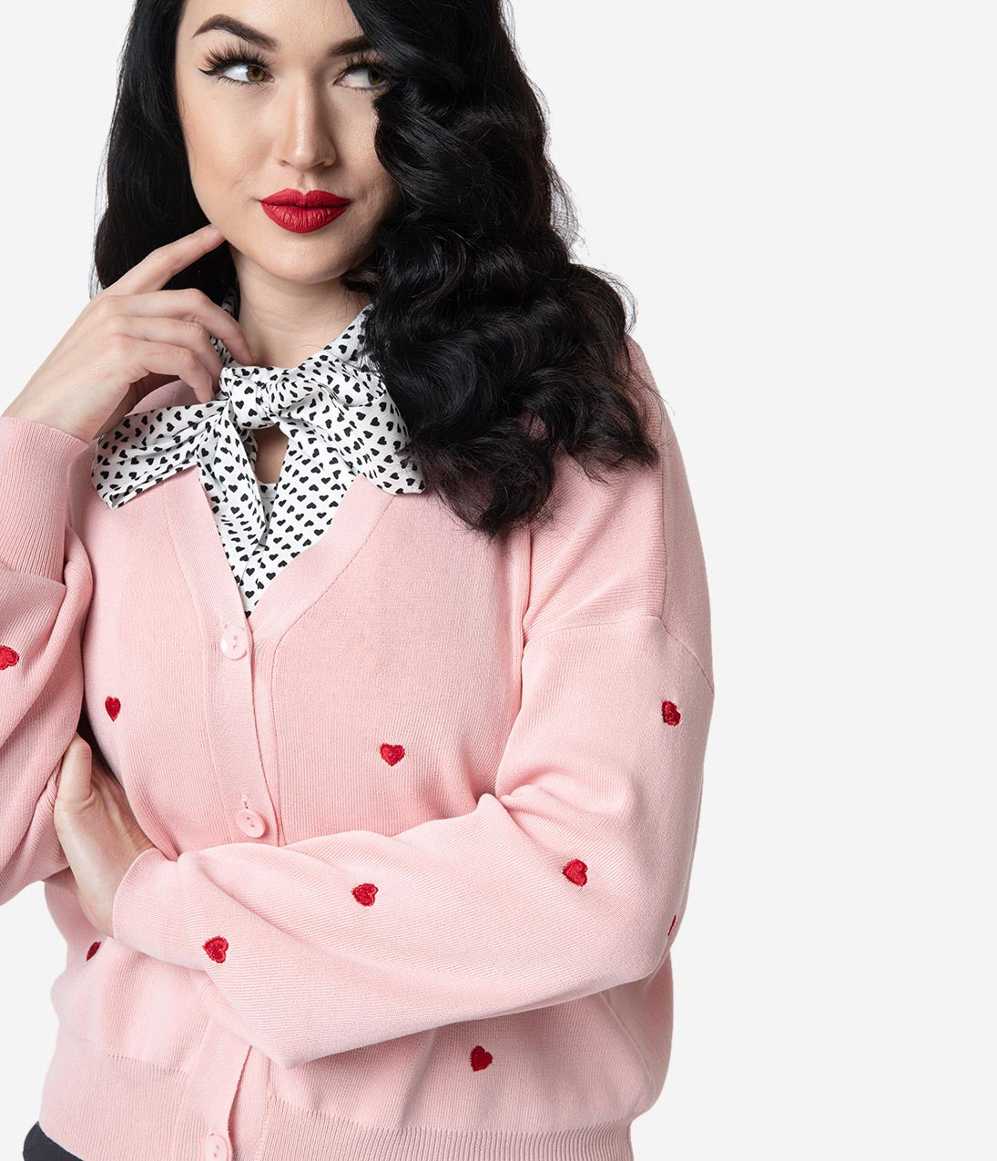 Vintage Christmas Dress | Party Dresses | Night Out Outfits Light Pink  Red Embroidered Heart Long Sleeved Knit Cardigan $52.00 AT vintagedancer.com