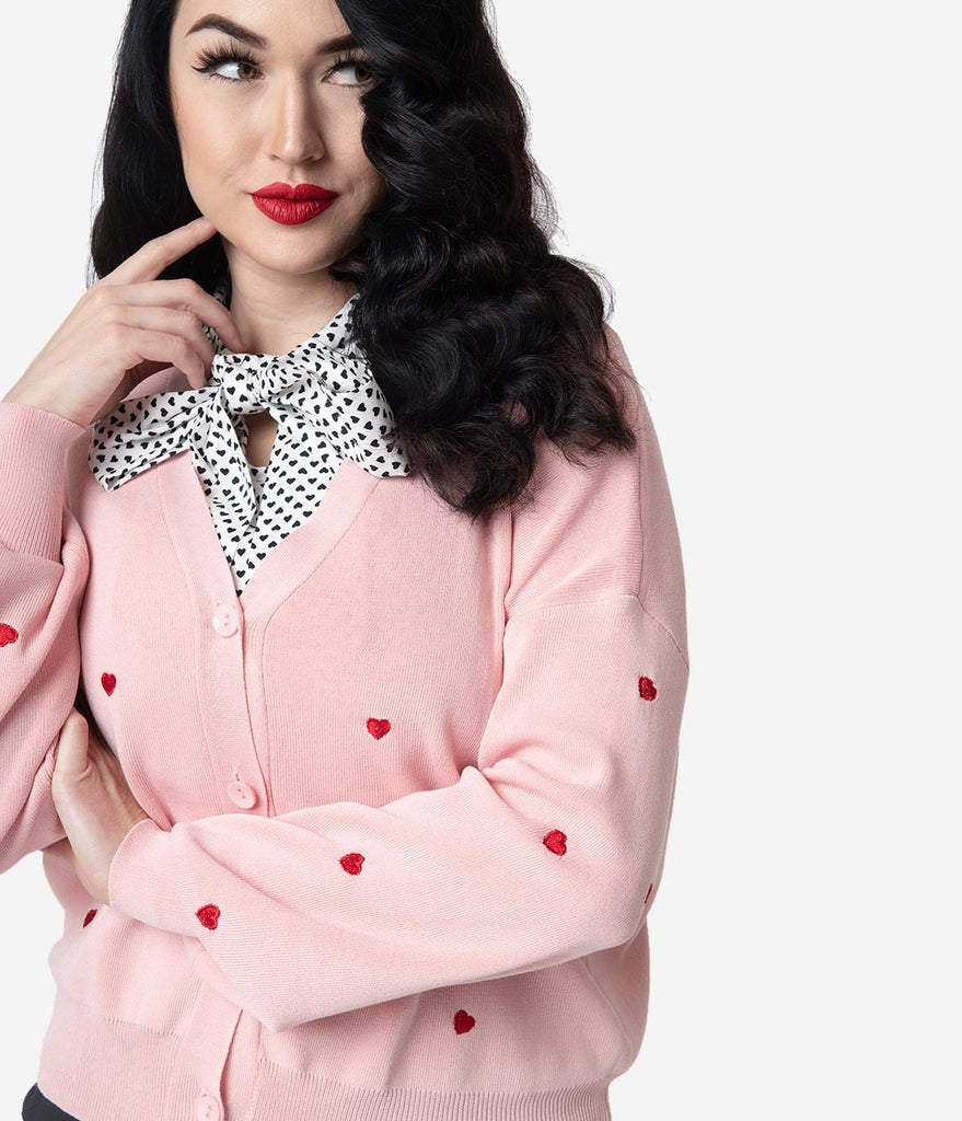 8ccbb2cd849 Light Pink   Red Embroidered Heart Long Sleeved Knit Cardigan by Unique  Vintage