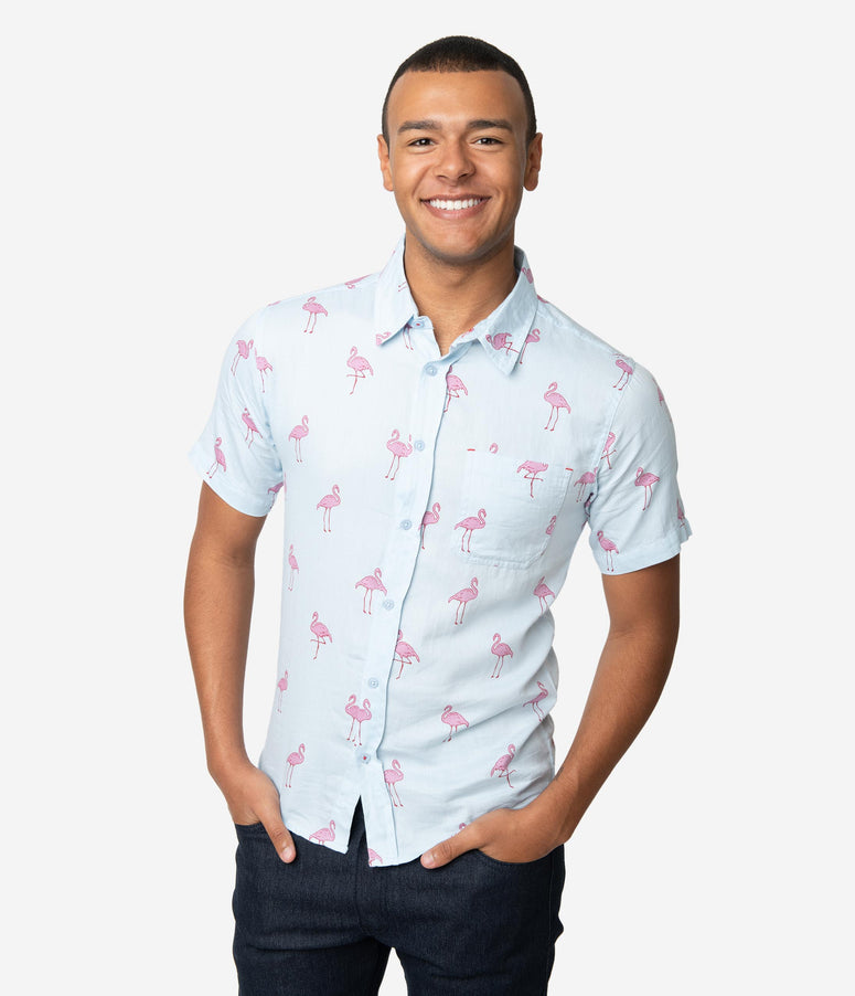 Light Blue & Pink Flamingo Print Cotton Button Up Mens Shirt
