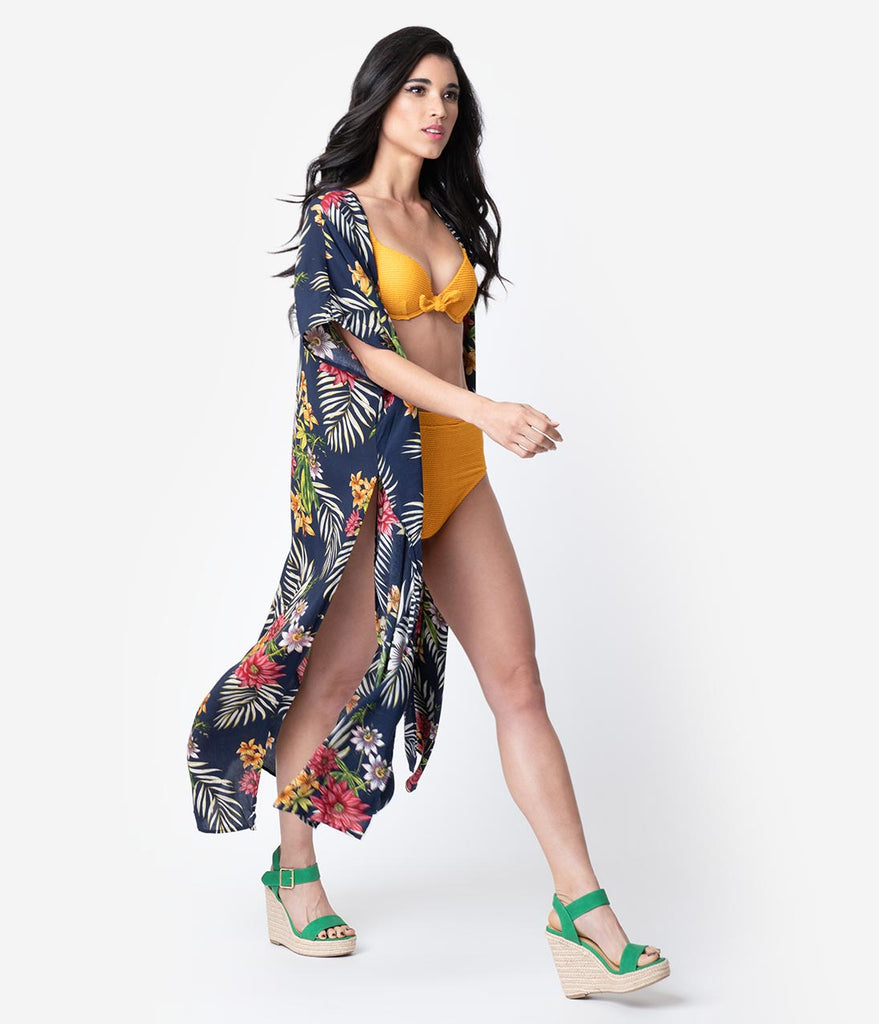 2fab996703106 Vintage Style Navy Tropical Print Swim Coverup – Unique Vintage