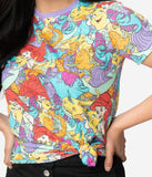 Cakeworthy Little Mermaid Character All Over Print Cotton Unisex Tee