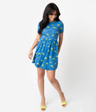 Cakeworthy Blue Pizza Planet Print Cotton Fit & Flare Dress