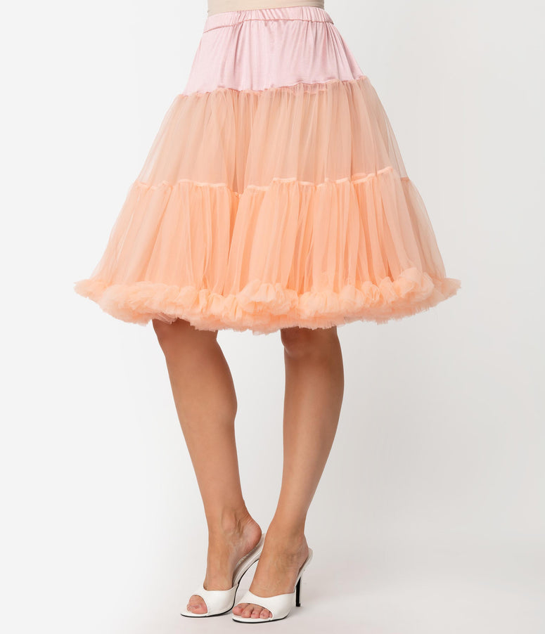 Unique Vintage Blush Peach Retro Style Ruffled Petticoat Crinoline