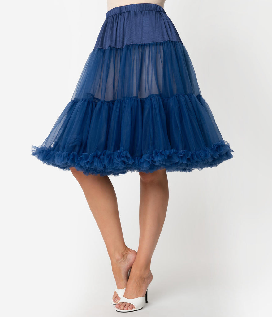 Unique Vintage Navy Blue Retro Style Ruffled Petticoat Crinoline