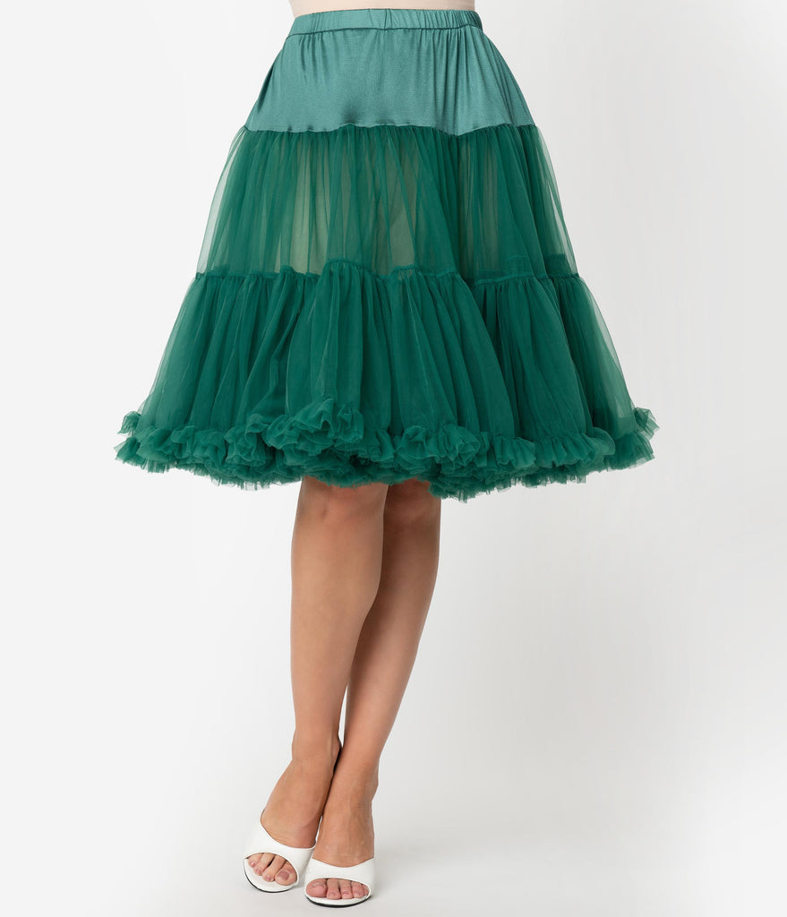Unique Vintage Emerald Green Retro Style Ruffled Petticoat Crinoline