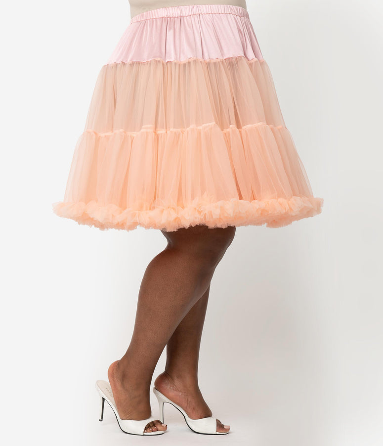 Unique Vintage Plus Size Blush Peach Retro Style Ruffled Petticoat Crinoline