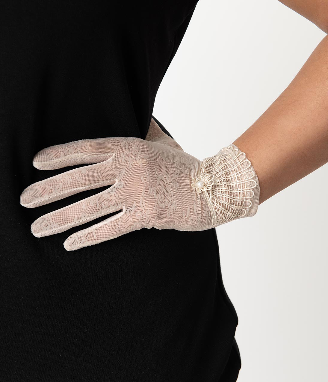 Victorian Gloves | Victorian Accessories Unique Vintage Light Pink Deco Floral Mesh Wrist Gloves $22.00 AT vintagedancer.com