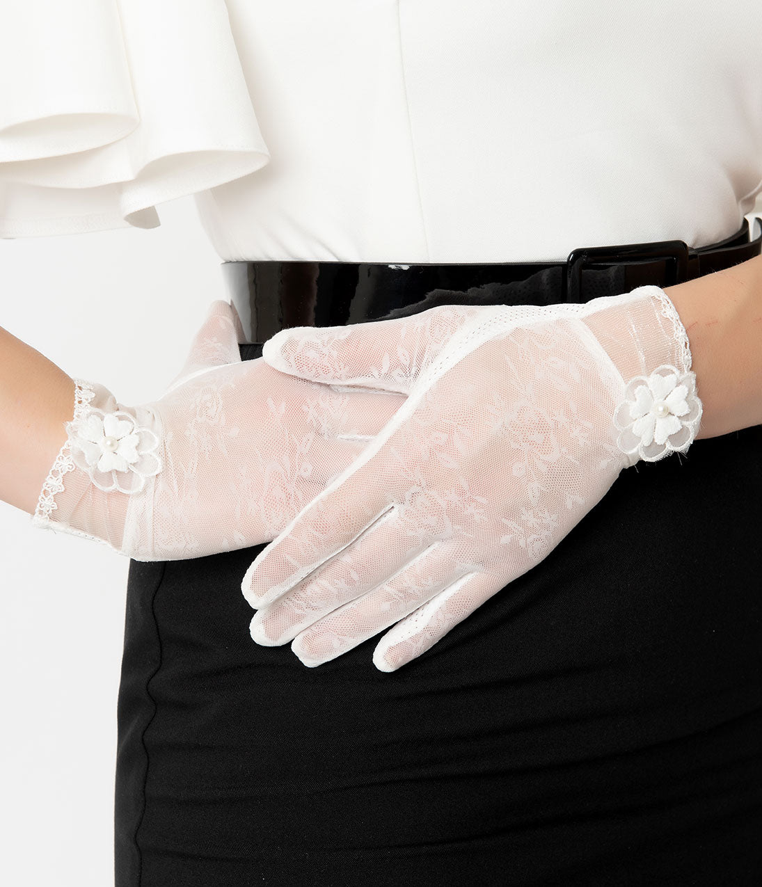 Vintage Style Gloves- Long, Wrist, Evening, Day, Leather, Lace Unique Vintage 1950S Style White Mesh Floral Applique Wrist Gloves $22.00 AT vintagedancer.com