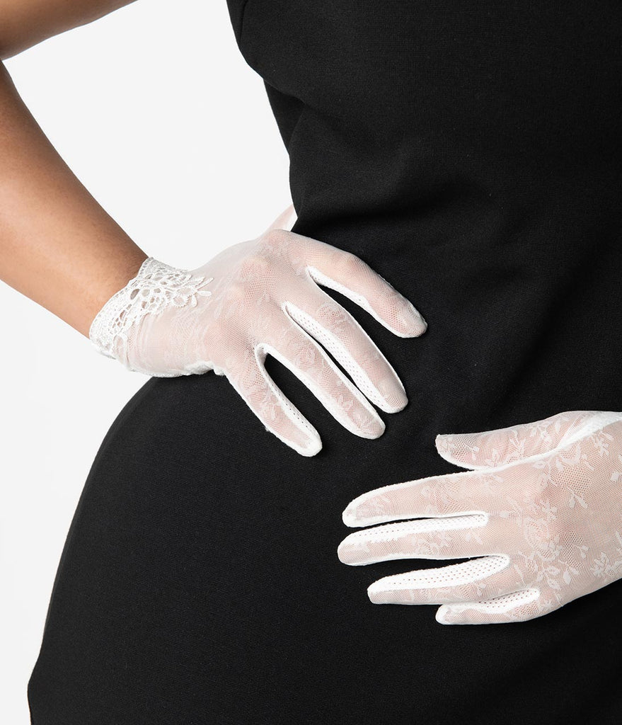 Unique Vintage White Mesh Embroidered Lace Wrist Gloves