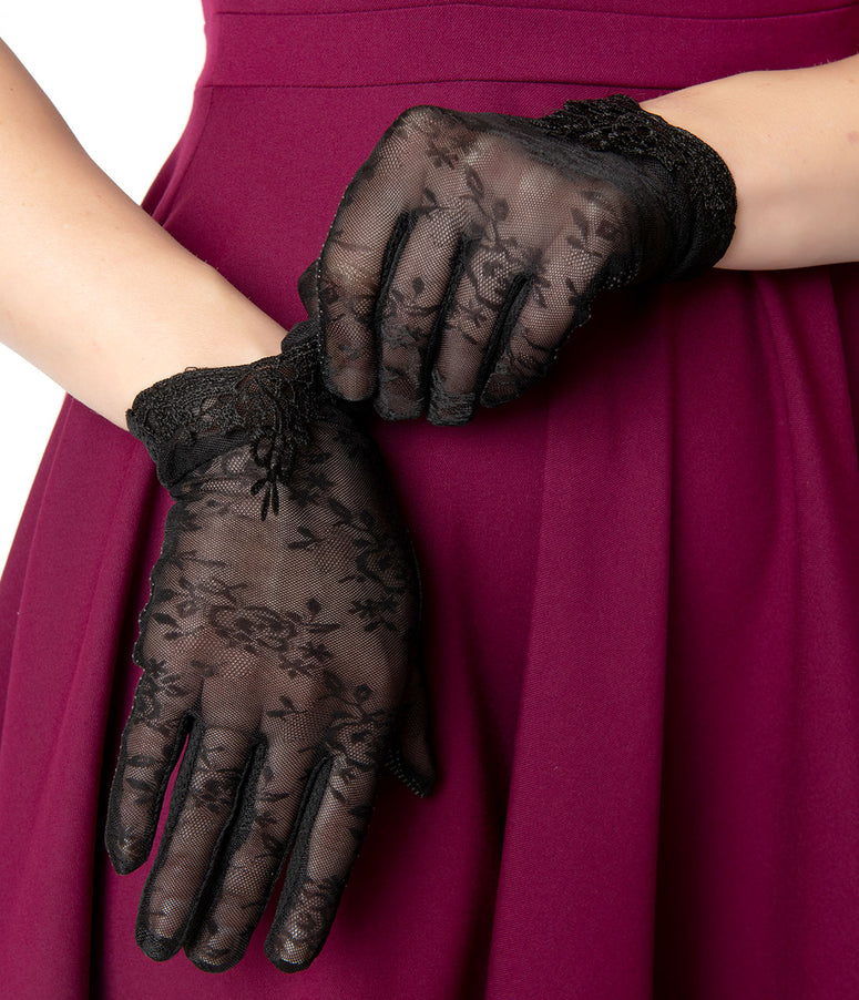 Unique Vintage Black Mesh Embroidered Lace Wrist Gloves