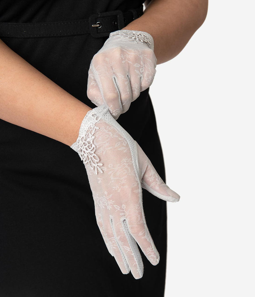 Unique Vintage Silver Grey Mesh Embroidered Lace Wrist Gloves