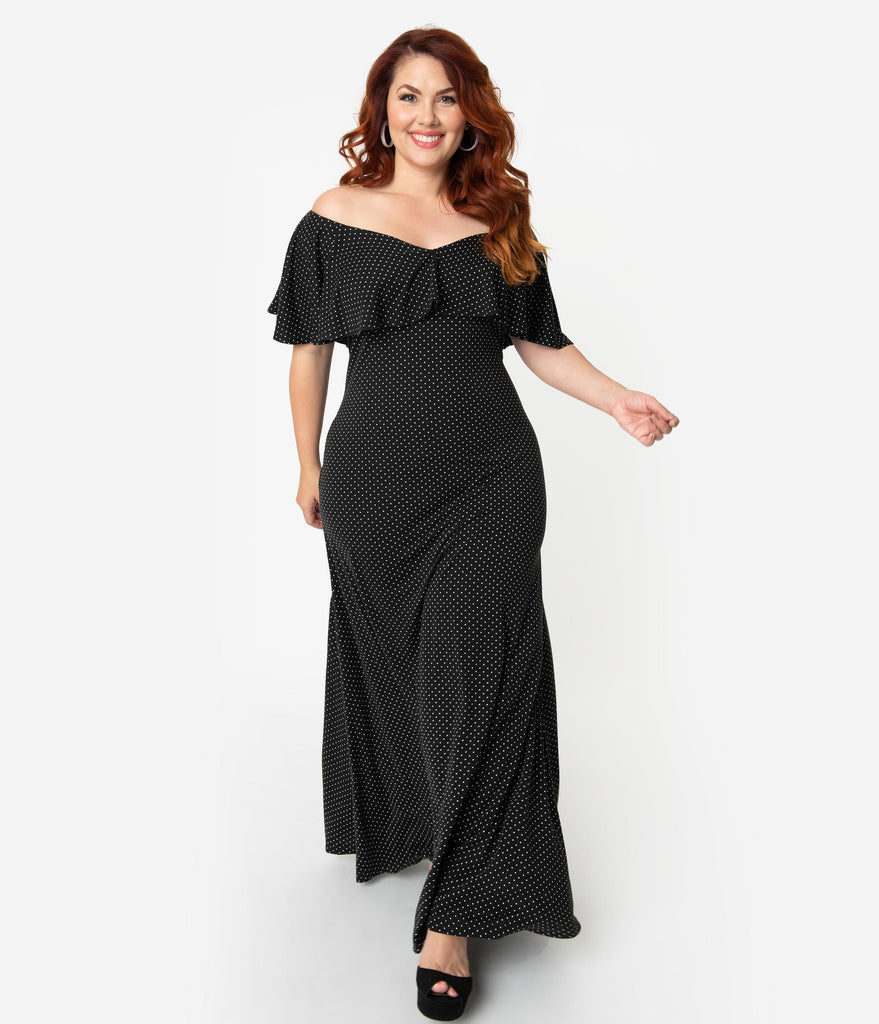 Unique Vintage Plus Size Black & White Pin Dot Off Shoulder Ruffle Dunaway  Long Dress