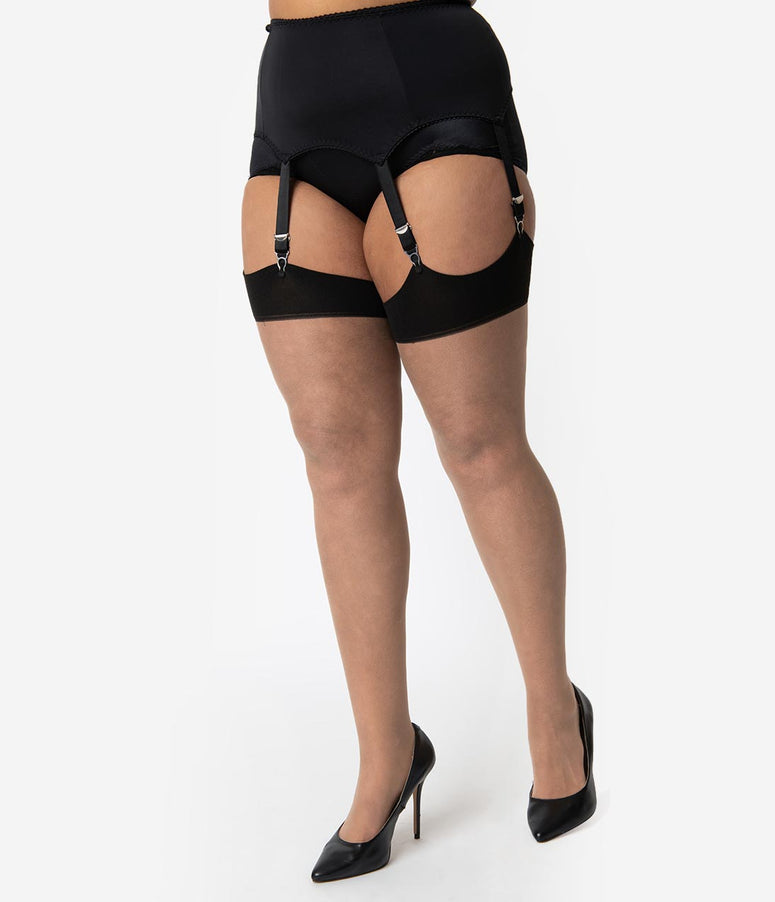 What Katie Did Plus Size Black Suspender Liz Garter Belt