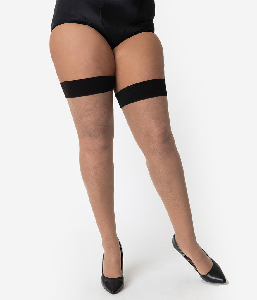 What Katie Did Plus Size Vintage Style Champagne & Black Curve Seamed Stockings