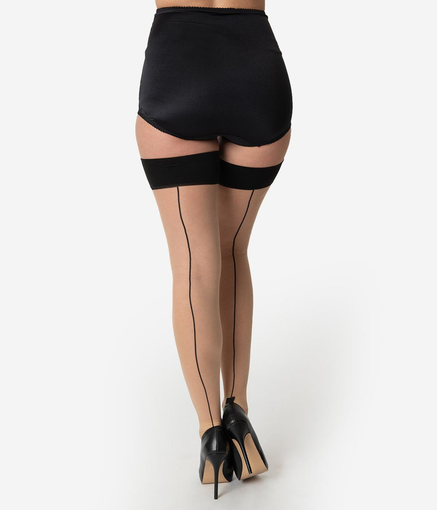 9d211d76ad5 What Katie Did Black Cuban Heel Glamour Seamed Stockings – Unique Vintage