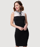Smak Parlour Black & White Cotton Eyelet Collar Sleeveless Wiggle Dress