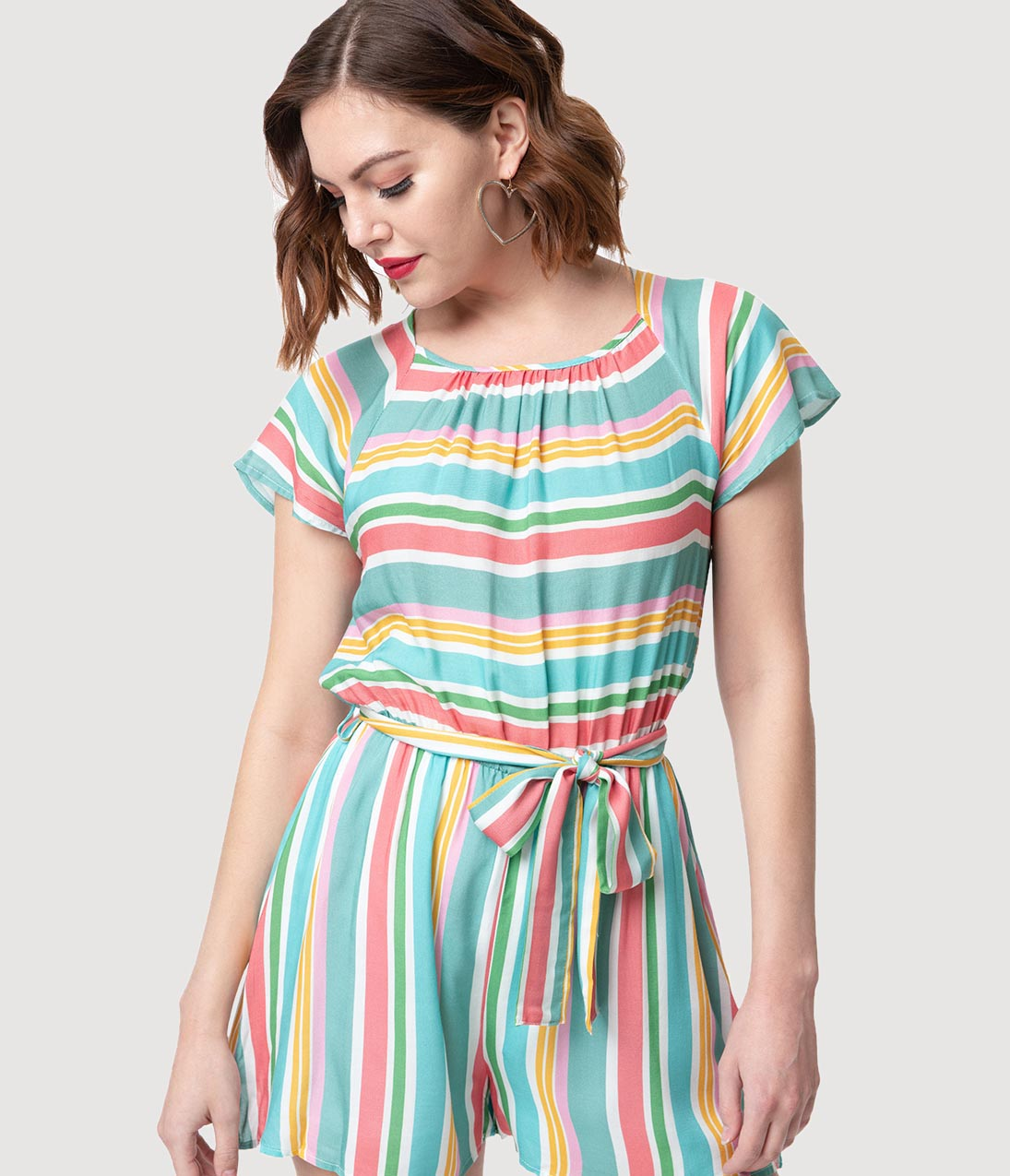 40s-50s Vintage Playsuits, Jumpsuits, Rompers History Smak Parlour Retro Style Multicolor Pastel Striped French Girl Cool Romper $50.00 AT vintagedancer.com