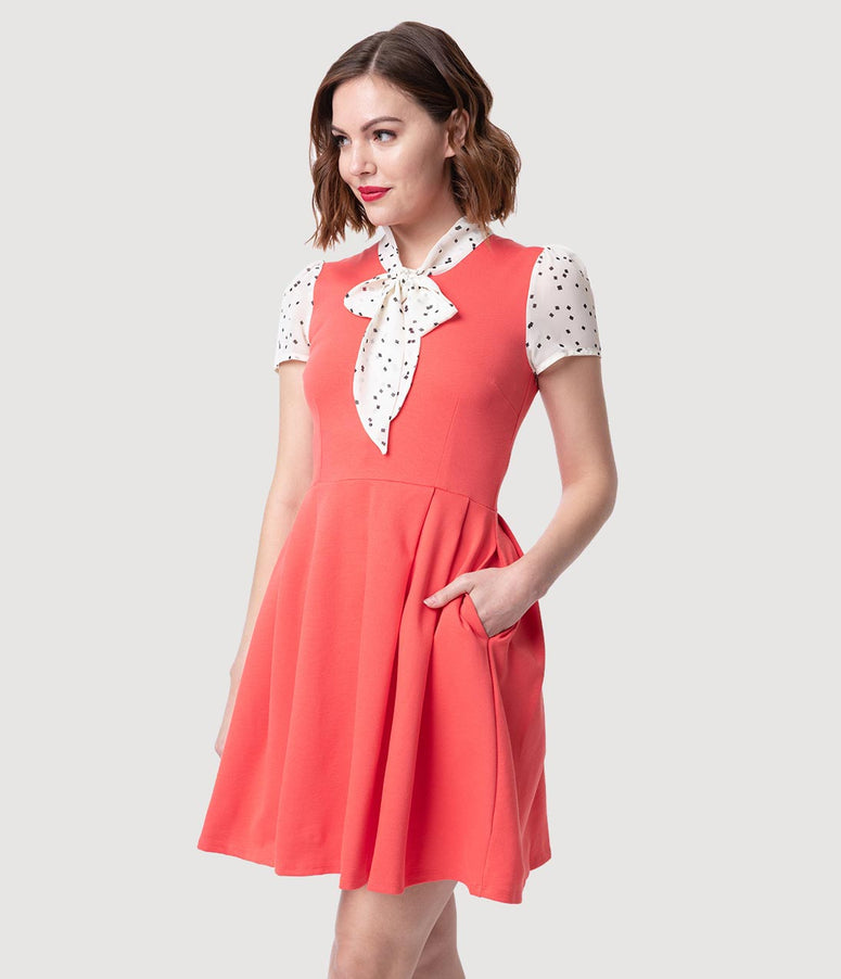 Smak Parlour 1960s Style Coral & Ivory Empower Hour Fit & Flare Dress