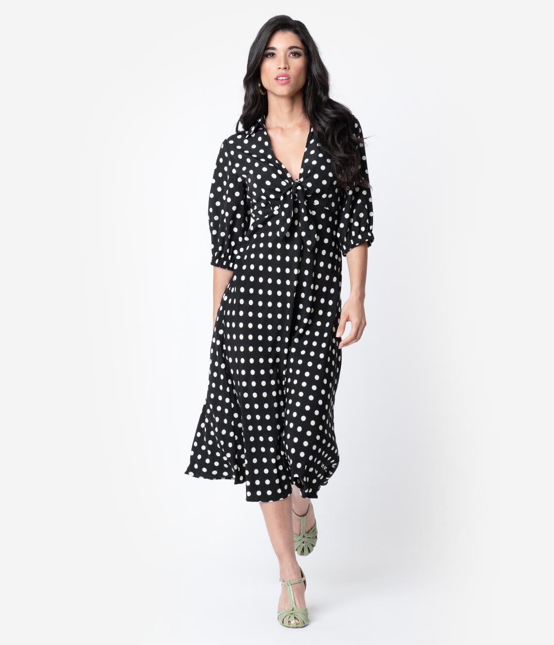 Vintage Tea Dresses, Floral Tea Dresses, Tea Length Dresses 1940S Style Black  Ivory Polka Dot Sleeved Midi Dress $58.00 AT vintagedancer.com