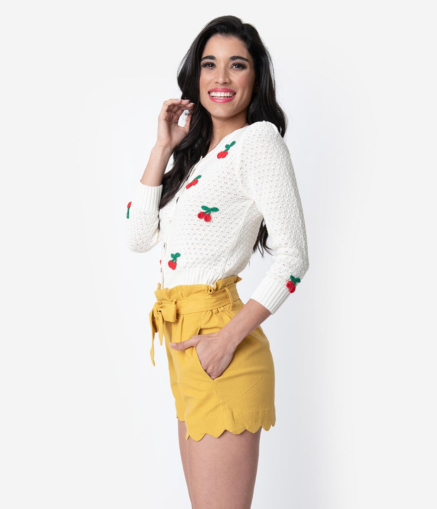 Mustard Cotton Stretch Paper Bag Scalloped Shorts