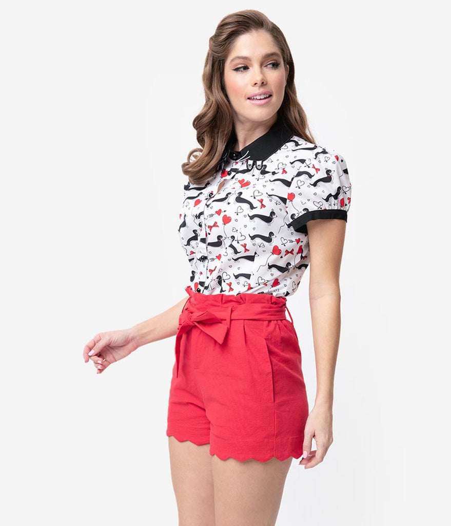 Red Cotton Stretch Paper Bag Scalloped Shorts