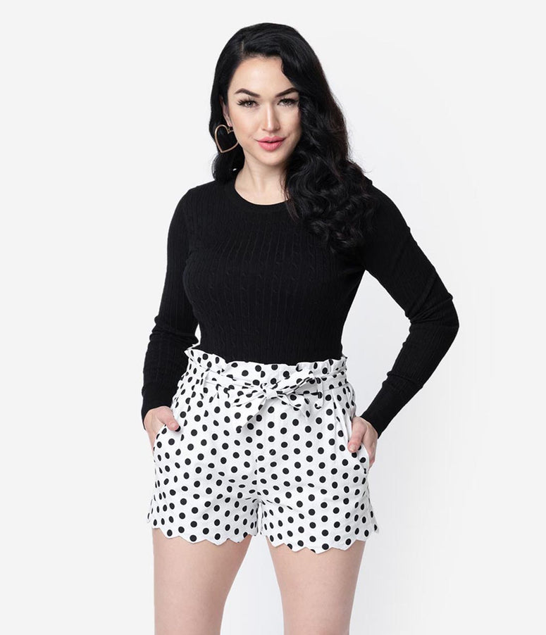 White & Black Polka Dot Cotton Stretch Paper Bag Scalloped Shorts