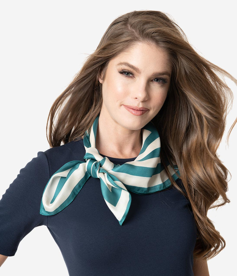 Retro Style Emerald & Ivory Striped Neck Scarf